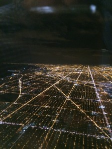 The spaces and places of Chicago, as we descended on Monday night.